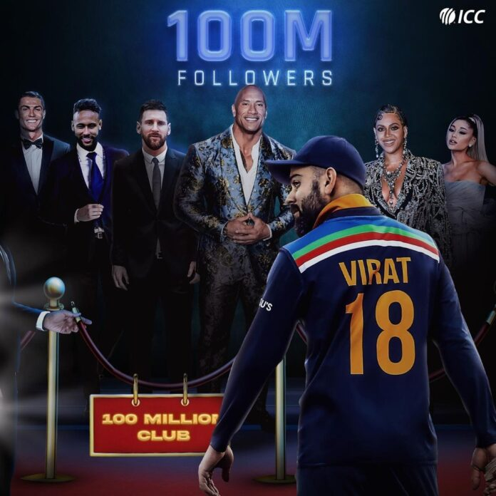 the first cricketer who reached 100 million followers on Instagram